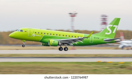 Moscow/Russia - 10 13 2018: Passenger turbojet aircraft Embraer 170SU (VQ-BYM) of S7 airlines landing at Moscow Domodedovo Airport