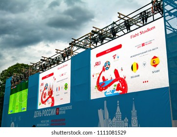 MOSCOW-RUSSIA, 11 June 2018: World footbal championship announcement on screen at Park Gorkogo in Moscow