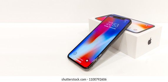 MOSCOW,RUSSIA 12 NOVEMBER, 2017: Iphone X smart phone. Latest Apple Iphone 10 mobile phone. Illustrative editorial. Newest Iphone with  touch screen, dual vertical camera