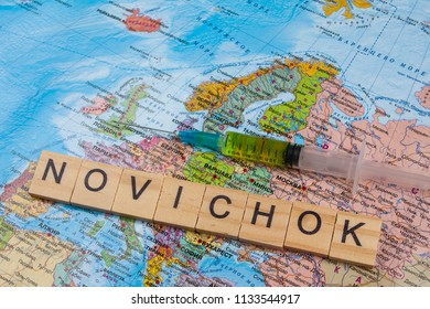 Moscow,Russia - 13 July 2018 - The word nerve gas Novichok on the world map