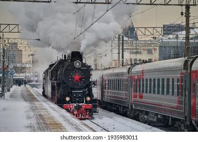 MoscowRussia - 23 February 2021: Steam locomotive at Yaroslavsky railway station, Moscow