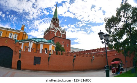 Moscow/Russia - April 7, 2017: Kremlin Clock Tower on Red Square, Moscow, Russia