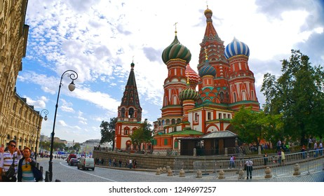 Moscow/Russia - April 7, 2018: Saint Basil's Cathedral or Cathedral of the Intercession of the Most Holy Theotokos on the Moat in Red Square, Moscow, Russia in the normal day with the tourists