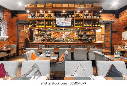 MOSCOW/RUSSIA - DECEMBER 2014. The wooden bar in a luxurious Italian restaurant - il FORNO