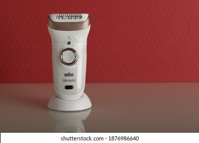 Moscow-Russia - february 16, 2020 new epilator Braun with reflection