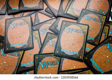 Moscow/Russia - January 1 2019: Back of the collectible card game Magic: The Gathering
