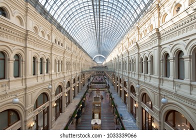 Moscow,Russia- March 23,2017: Common view of GUM (State Department Store during the Soviet times) with glass roof, people go shopping. GUM houses about a hundred premium class stores.