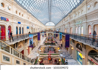 Moscow,Russia- March 23,2017: Interior of GUM (main universal store) with glass roof. GUM houses about a hundred premium class stores, cafes, and restaurants.