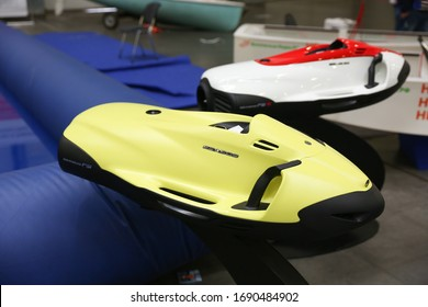 Moscow/Russia - MARCH 9, 2020 Water Sled Seabob on Moscow Boat show 2020.