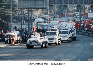 MOSCOW/RUSSIA, MAY 4, 2018; The Military transport moves to the Victory Day's Parade repetition; Military vehicles in winter camouflage.