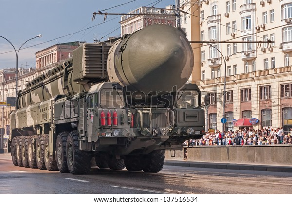 MOSCOW/RUSSIA - MAY 9: RT-2UTTKh Topol-M (SS-27 Sickle B) intercontinental ballistic missile on display during parade festivities devoted to 65th anniversary of Victory Day on May 9, 2010 in Moscow.