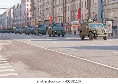 MOSCOW/RUSSIA - MAY 9: Tigr (tiger) high-mobility armoured vehicles GAZ-2330 motorcade moves on display during parade devoted to Victory Day on May 9, 2013 in Moscow.