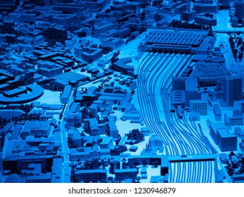 Moscow.Russia - November 15 2018: Neon Moscow toy city architecture background