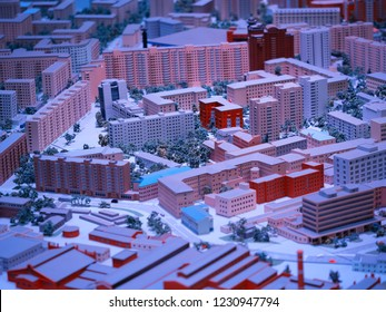 Moscow.Russia - November 15 2018: Neon Moscow toy city architecture