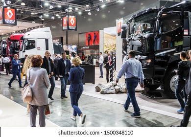 "Moscow,RUSSIA - SEPTEMBER 5, 2019: 15TH INTERNATIONAL EXHIBITION OF COMMERCIAL VEHICLES ""COMTRANS 2019"". visitors to the stand Renault cars at the exhibition"