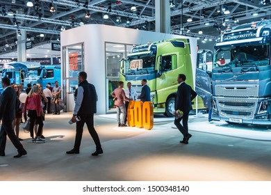 "Moscow,RUSSIA - SEPTEMBER 5, 2019: 15TH INTERNATIONAL EXHIBITION OF COMMERCIAL VEHICLES ""COMTRANS 2019"". visitors to the stand Volvo cars at the exhibition"