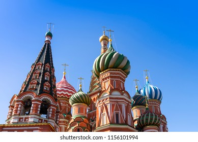 Moscow,Russia, St. Basil's Cathedral in Red square in sunny blue sky. Red square is Attractions popular's touris in russia