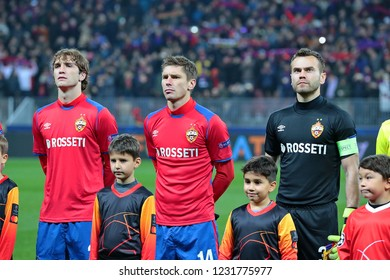 MOSCOW,RUSSIA-07NOVEMBER,2018. Luzhniki Stadium.Mario Fernandes, Kirill Nababkin and Igor Akinfeev(left to right) before the match of UEFA Champions League between CSKA (Moscow.Russia) and Roma(Italy)