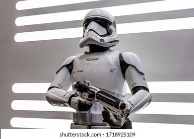 Moscow/Russia-10.06.19: Stormtrooper on Comic Con.