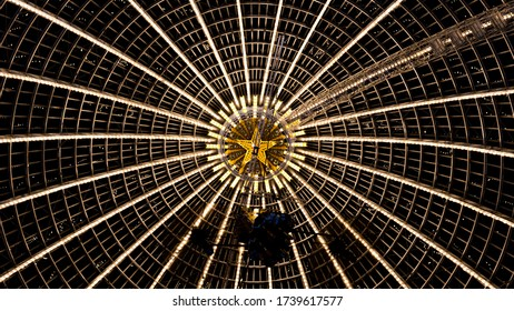 Moscow/Russia-10.11.19: The ceiling of the pavilion Cosmos.  VDNH.