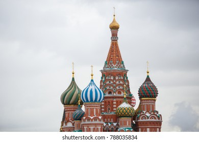 MOSCOW,RUSSIA-21 JANUARY,2017:Red Square landmark.Saint Basil church.Popular among tourists.National symbol and the most famous place in Russian Federation.