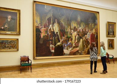 MOSCOW,RUSSIA-FEBRUARY 28,2014:State Tretyakov Gallery is art gallery in Moscow,Russia,foremost depository of Russian fine art in world.Gallery's history starts in 1856.Collection - 130,000 exhibits