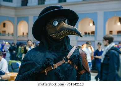 Moscow/Russia/Igrokon 2017/ 18.11.2017 a man wearing a plague doctor's mask