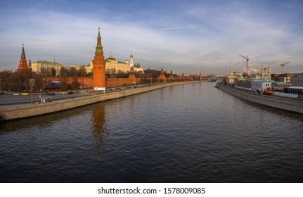 MOSCOW,RUSSIA-November 28,2019: Panorama of Moscow. Beautiful view on Kremlin and Moscow River at daytime. Golden sunset in the capital of Russia