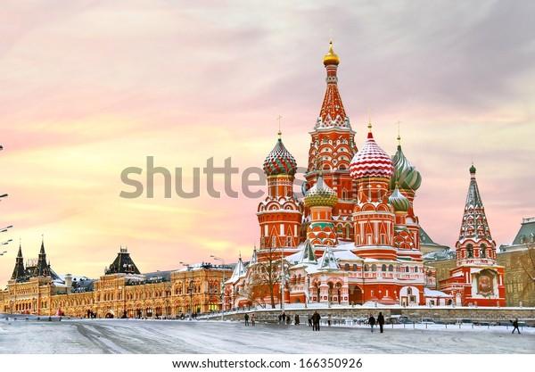 Moscou, Russie, Place Rouge, vue sur la cathédrale Saint-Basile en hiver