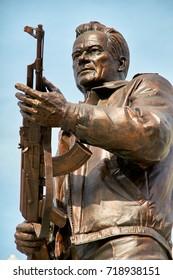 MOSCOW,RUSSIA/SEPTEMBER 20,2017:  Monument to the designer Mikhail Kalashnikov, the creator of the Kalashnikov assault rifle