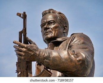 MOSCOW,RUSSIA/SEPTEMBER 20,2017:  Monument to the designer Mikhail Kalashnikov, the creator of the Kalashnikov assault rifle