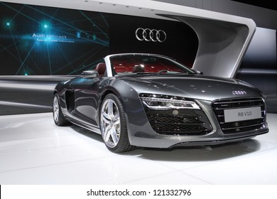 MOSCOW-SEPTEMBER 1: Audi R8 V10 spyder at the international exhibition of  the automobile industry Moscow international automobile salon MIAS on September 1, 2012 in Moscow