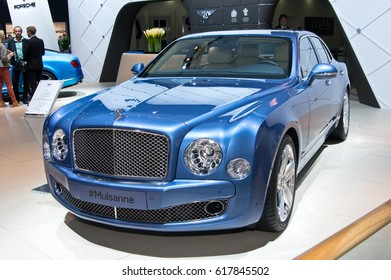 MOSCOW-SEPTEMBER 2: Bentley Mulsanne at the Moscow International Automobile Salon on September 2, 2014 in Moscow, Russia