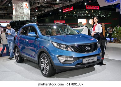 MOSCOW-SEPTEMBER 2: Kia Sportage at the Moscow International Automobile Salon on September 2, 2014 in Moscow, Russia