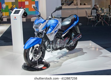 MOSCOW-SEPTEMBER 2: Motorcycle Suzuki GW 250 at the Moscow International Automobile Salon on September 2, 2014 in Moscow, Russia