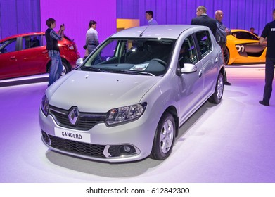 MOSCOW-SEPTEMBER 2: Renault Sandero at the Moscow International Automobile Salon on September 2, 2014 in Moscow, Russia.