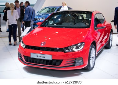 MOSCOW-SEPTEMBER 2: Volkswagen Scirocco  at the Moscow International Automobile Salon on September 2, 2014 in Moscow, Russia
