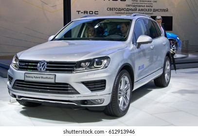 MOSCOW-SEPTEMBER 2: Volkswagen Touareg Hybrid BlueMotion  at the Moscow International Automobile Salon on September 2, 2014 in Moscow, Russia
