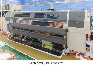 MOSCOW-SEPTEMBER 24, 2015: Chinese company solvent printers GONGZHENG at the International Trade Fair REKLAMA