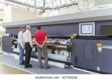 MOSCOW-SEPTEMBER 24, 2015: Industrial digital printers of the Italian-Austrian company DURST at the International Trade Fair REKLAMA