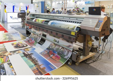 MOSCOW-SEPTEMBER 24, 2015: Large format printers of the Chinese company INKWIN at the International Trade Fair REKLAMA