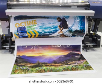 MOSCOW-SEPTEMBER 29, 2016: Large format printers Japanese company Roland at the International Trade Fair REKLAMA