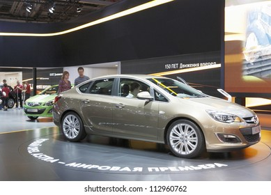 MOSCOW-SEPTEMBER 3: The world premiere Opel Astra at the International Automobile Salon on September 3,2012 in Moscow