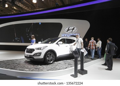 MOSCOW-SEPTEMBER 3:The European premiere Hyundai Santa Fe at the International Automobile Salon on September 3, 2012 in Moscow, Russia.