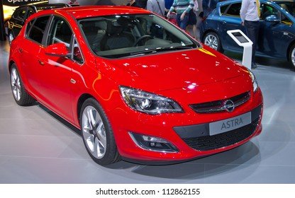 MOSCOW-SEPTEMBER 6: Opel Astra at the Moscow International Automobile Salon on September 6,2012 in Moscow