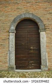 Moscufo - Abruzzo - Abbey of Santa Maria del Lago - Entrance portal with decorations