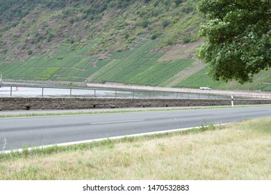 Mosel valley road at huge river curve
