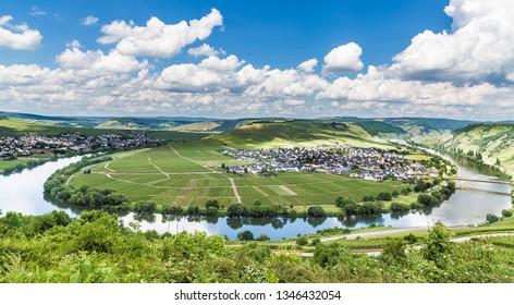 Moselle Loop at Trittenheim Rhineland-Palatinate Germany.