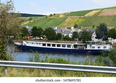Moselle river with old ship