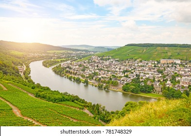 Moselle Valley Germany: View from Landshut Castle to the old town Bernkastel-Kues with vineyards and river Mosel in summer, Germany Europe